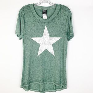 Modern Lux green burnout T-shirt with white star L